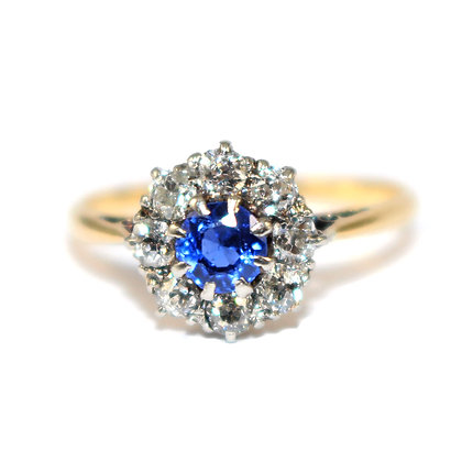 Edwardian Sapphire and Diamond Cluster Ring c.1920