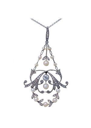 Art Nouveau Pearl & Diamond Necklace c.1915