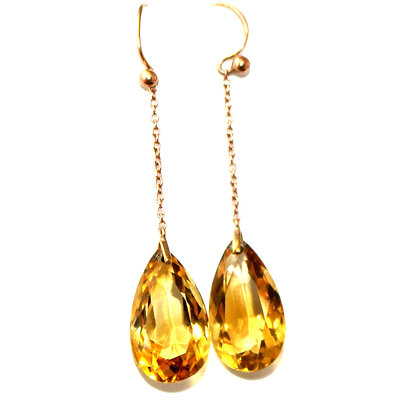 Victorian Citrine Long Drop Earrings c.1900