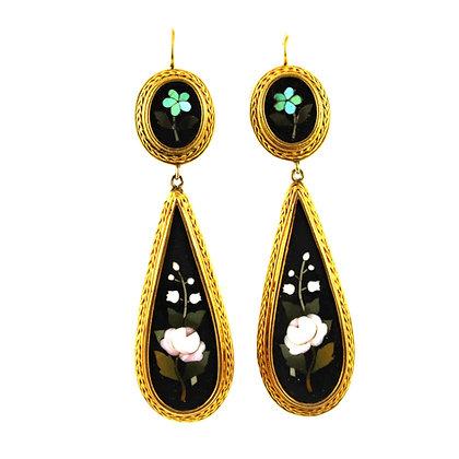Victorian Pietra Dura Earrings