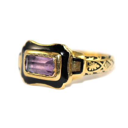 Victorian Amethyst Mourning Ring