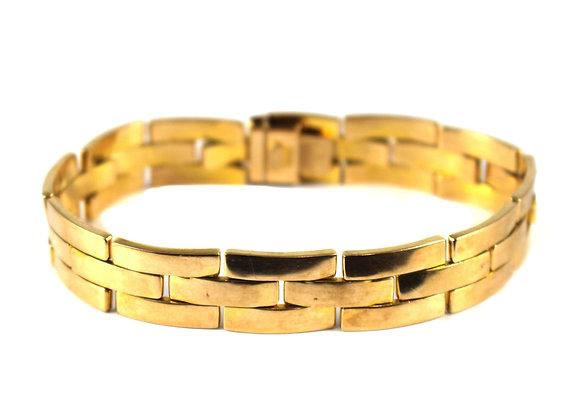 Edwardian 15ct Gold Brick Link Bracelet c.1920