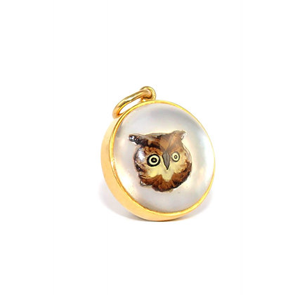 Victorian Owl Essex Crystal Pendant c.1900