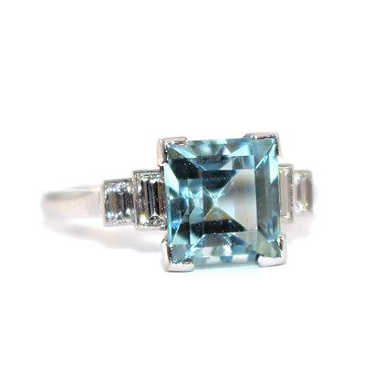 Art Deco Square Aquamarine and Diamond Ring c.1935