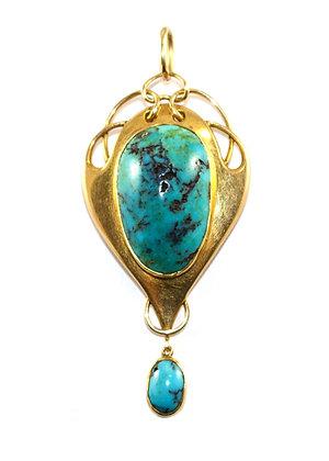 Murrle Bennett Art Nouveau Turquoise Pendant