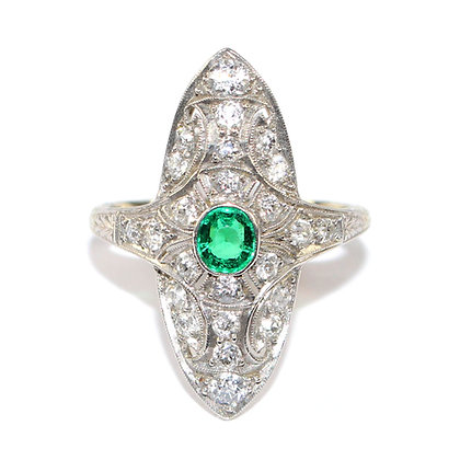 Art Deco Emerald and Diamond Marquise Ring