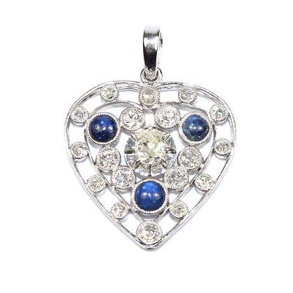 Art Deco Diamond Heart Pendant