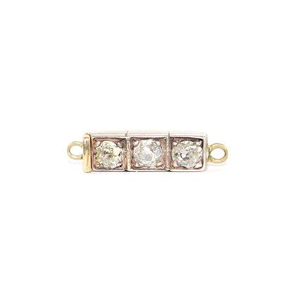 Victorian Oldcut Diamond 3 stone Clasp c.1900