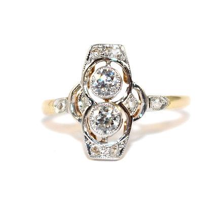 Edwardian Diamond toi et moi Ring