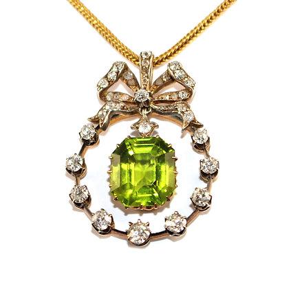 Victorian Peridot & Diamond Pendant