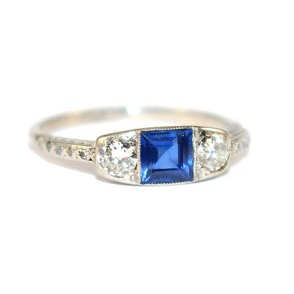 Art Deco Sapphire & Diamond 3 Stone Ring