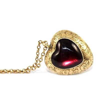Victorian Garnet Heart Locket c.1900