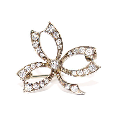 Edwardian Diamond Shamrock Brooch