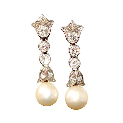 Mid-Century Diamond and Pearl Drop Earrings c.1950 (Screw Fittings)