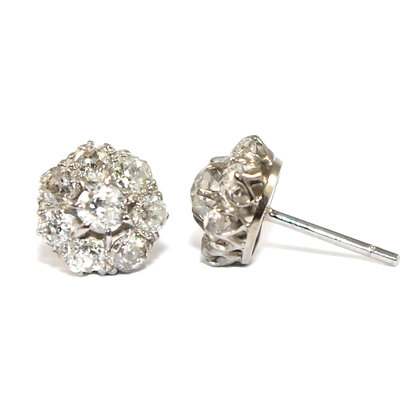 Edwardian Diamond Cluster Earrings c.1910