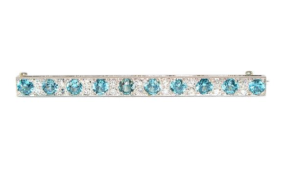 Art Deco Blue Zircon & Diamond Brooch c.1930