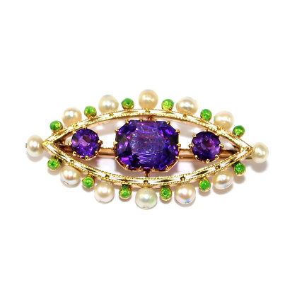 Edwardian Amethyst and Pearl Brooch