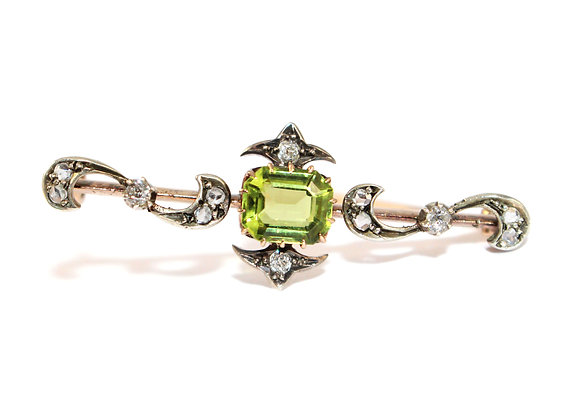 Victorian Peridot & Diamond Brooch