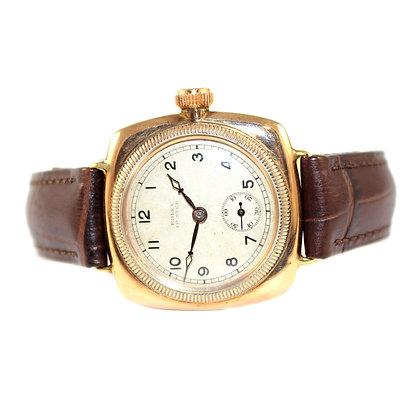 Rolex Oyster Cushion Watch 9ct Gold c.1928
