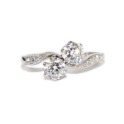 Art Deco Diamond 2 Stone Ring c.1935