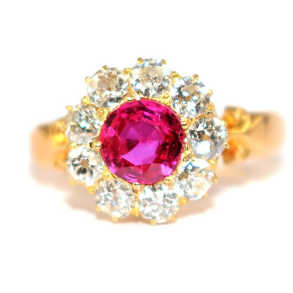 Antique Ruby Diamond Cluster Engagement Ring