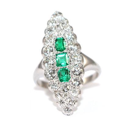 Emerald & Diamond Marquise Ring