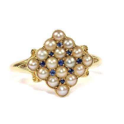 Edwardian Pearl & Sapphire Ring c.1910