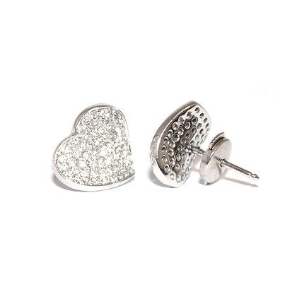 Pave Set Diamond Heart Earrings (French)