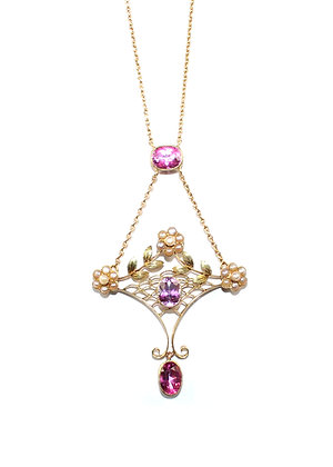 Antique Pink Topaz Necklace