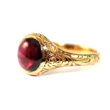 Victorian cabochon Garnet Signet ring c.1880