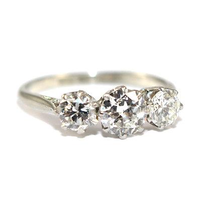 Art Deco Diamond 3 Stone Ring