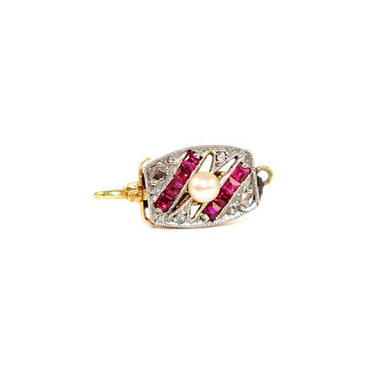 Edwardian Ruby, Rosecut Diamond and Pearl Clasp French c.1910