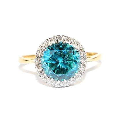 Blue Zircon Cluster Ring