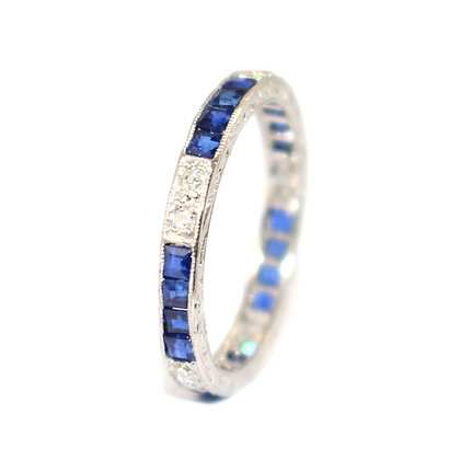 Art Deco Sapphire and Diamond Eternity Ring c. 1935 size M