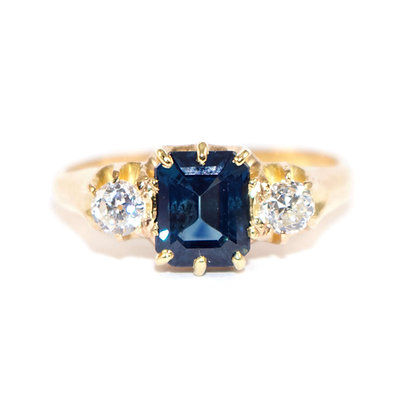 Antique Sapphire Diamond Halo Ring