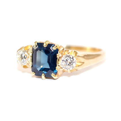 Antique Sapphire Diamond Engagement Ring