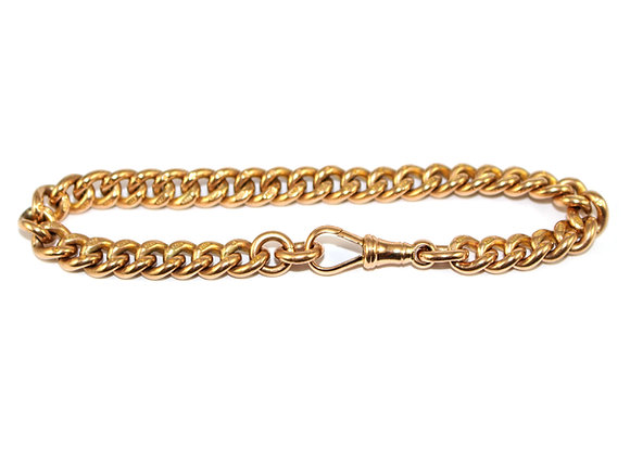 Victorian 9ct Gold Curb Link Albert Bracelet c.1890