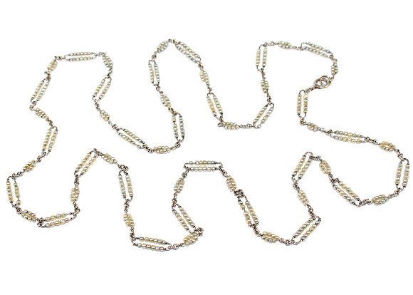 Art Deco Seed Pearl set Fancy link Chain c.1930
