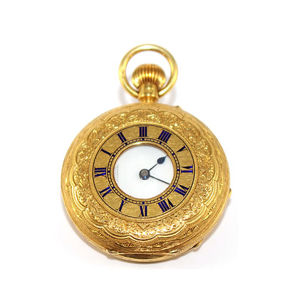 Edwardian 18ct Gold Small Half Hunter Pocket Watch by Russells of Liverpool