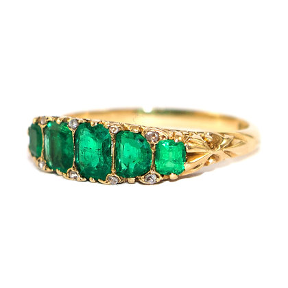 Edwardian Emerald 5 Stone Ring