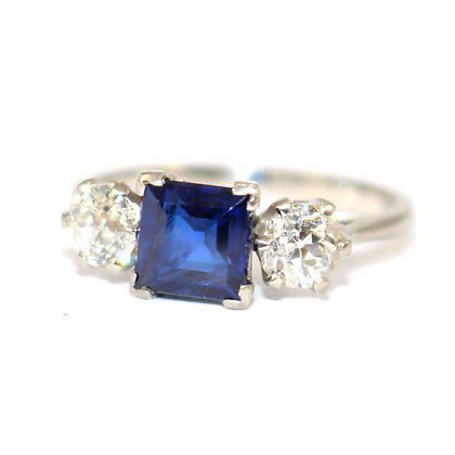 Art Deco Sapphire & Diamond 3 Stone Ring c.1930