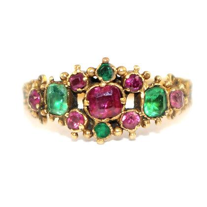 Georgian Ruby and Emerald Ring Antique Jewellery Shrewsbury