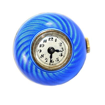 Art Deco Guilloche Enamel Ball Watch