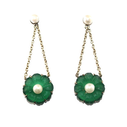 Art Deco Pearl and Chrysoprase Earrings