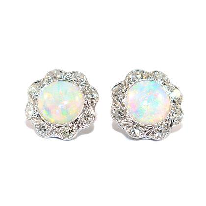 Antique Opal  Diamond Earrings