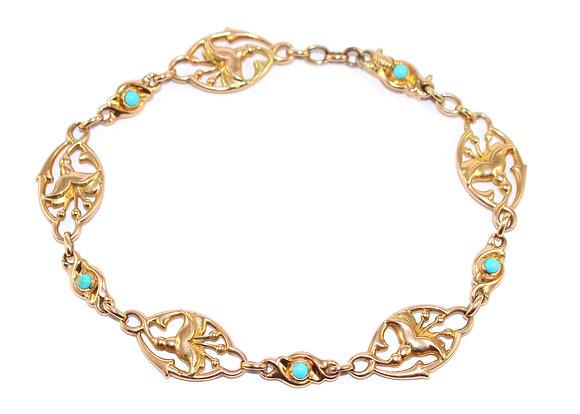 Art Nouveau Turquoise Fuchsia Bracelet