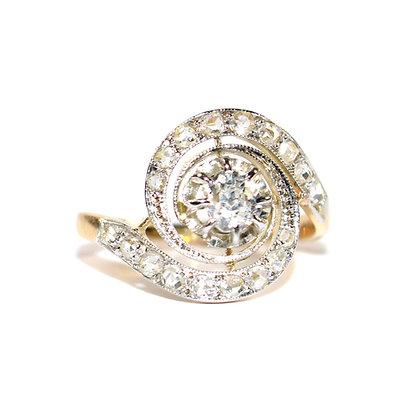 Art Deco Diamond Swirl Ring