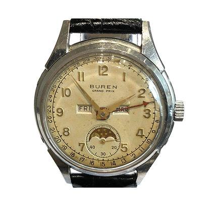 Buren Grand Prix Moonphase Triple Calendar Watch c.1950