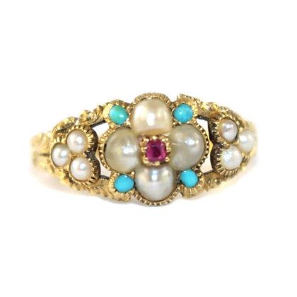 Georgian Pearl Turquoise Ruby Ring