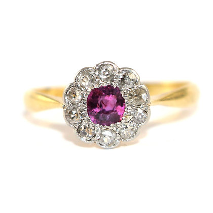 Art Deco Ruby HALO Engagement Ring